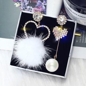 White Real Fur Rhinestone Earrings